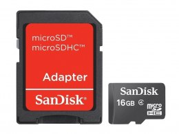 Sandisk microSD Card 16GB + Adapter 16 GB, MicroSDHC, SD adapter