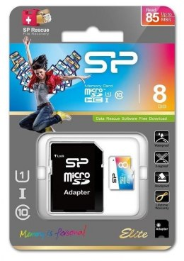 Silicon Power Elite UHS-1 Colorful 8 GB, MicroSDHC, Flash memory class 10, SD adapter