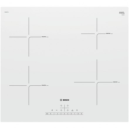 BIAŁA płyta indukcyjna Bosch Hob PUE612FF1J Induction, Number of burners/cooking zones 4, White, Display, Timer