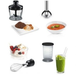 Bosch CleverMixx MSM2650B Black, Hand Blender, 600 W, Shaft material Stainless steel, Mini chopper, Material jar(s) Plastic