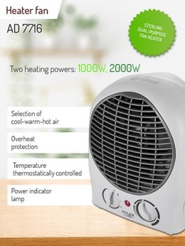 Adler AD 7716 Heater, Fan, Power 2000 W, White