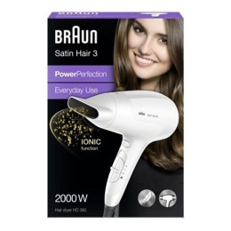Braun Satin Hair 3 HD 380 Ionic function, 2000 W, Biały
