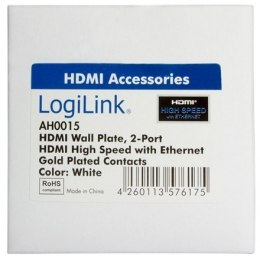 Logilink HDMI Wall Plate AH0015 2 x HDMI female, HDMI wall plate, 1 X HDMI female.
