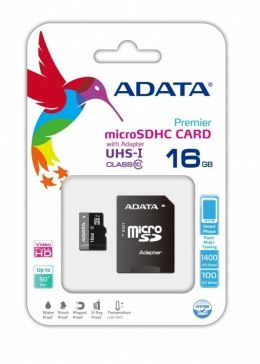 ADATA Premier UHS-I 16 GB, MicroSDHC, Flash memory class 10, SD adapter